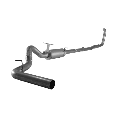 """1999-2003 7.3L Ford 4"""" Turbo Back Exhaust F350/F450/F550, Cab & Chassis Race Exhaust, With Muffler Flo 866"""